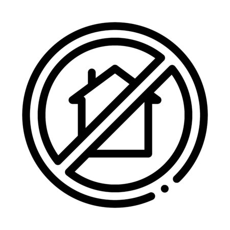house crossed out sign icon vector. house crossed out sign sign. isolated contour symbol illustration