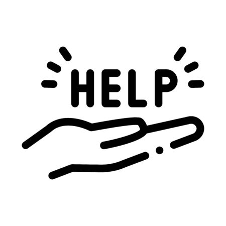 help on palm icon vector. help on palm sign. isolated contour symbol illustration