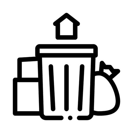trash can home icon vector. trash can home sign. isolated contour symbol illustration 向量圖像