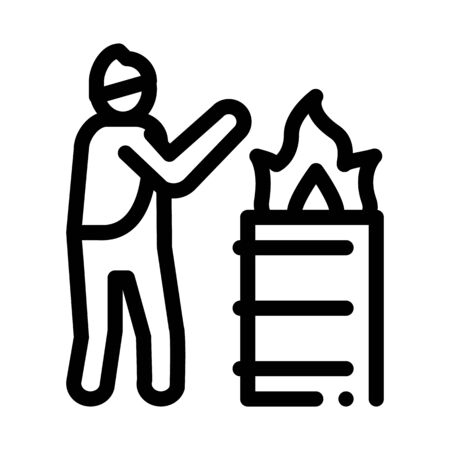 homeless warming flame icon vector. homeless warming flame sign. isolated contour symbol illustration