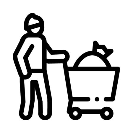 homeless with bag in shop cart icon vector. homeless with bag in shop cart sign. isolated contour symbol illustration 向量圖像