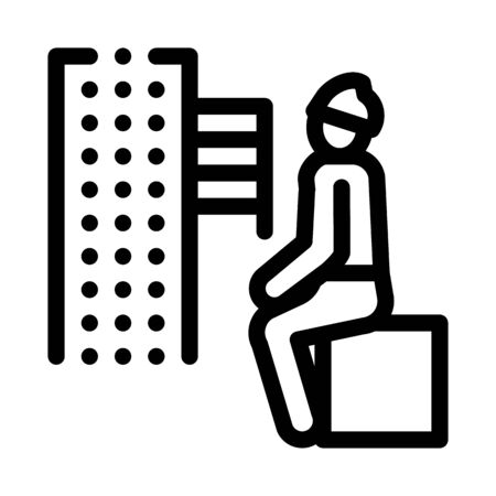 homeless sitting on box in city icon vector. homeless sitting on box in city sign. isolated contour symbol illustration Vectores