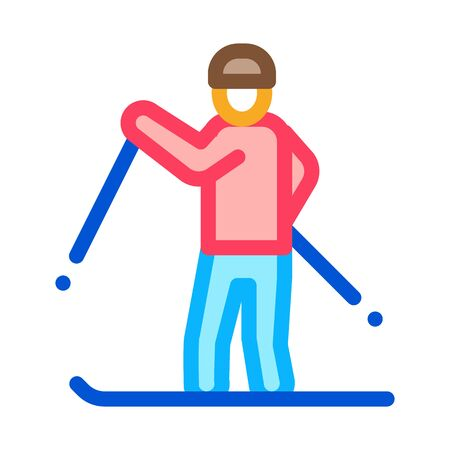 skier skiing icon vector. skier skiing sign. color symbol illustration
