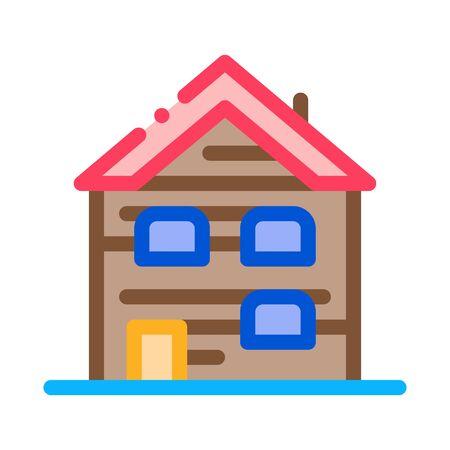 ski resort cabin building icon vector. ski resort cabin building sign. color symbol illustration
