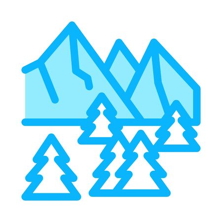snowy mountain and forest nature icon vector. snowy mountain and forest nature sign. color symbol illustration
