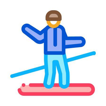 snowboarder slalom icon vector. snowboarder slalom sign. color symbol illustration