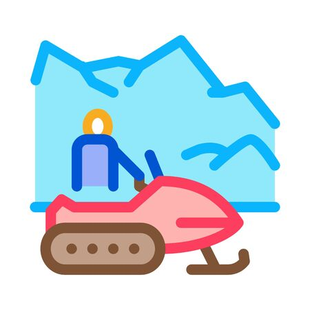 snowmobile winter transport icon vector. snowmobile winter transport sign. color symbol illustration