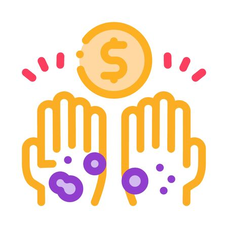 homeless hands ask for money icon vector. homeless hands ask for money sign. color symbol illustration