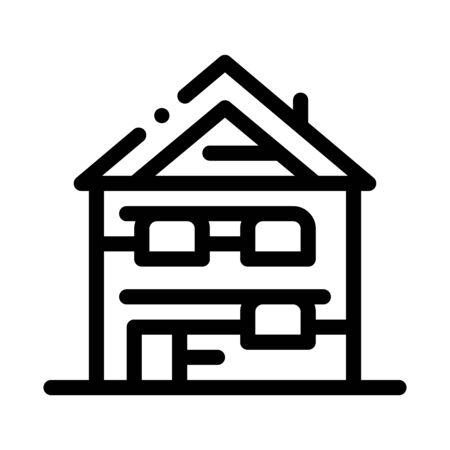 ski resort cabin building icon vector. ski resort cabin building sign. isolated contour symbol illustration