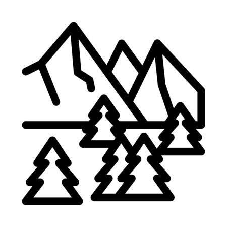 snowy mountain and forest nature icon vector. snowy mountain and forest nature sign. isolated contour symbol illustration