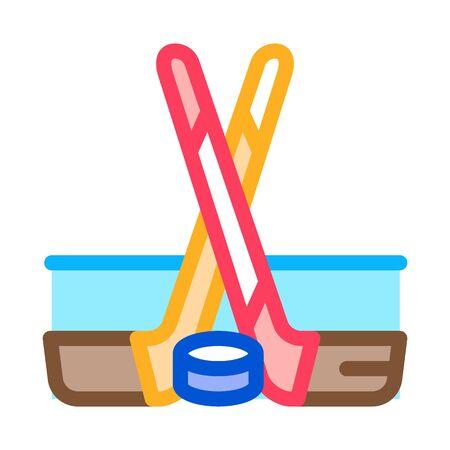 hockey sticks and shim icon vector. hockey sticks and shim sign. color symbol illustration