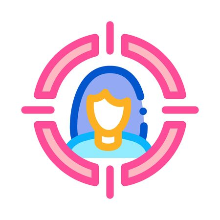 woman in target aim icon vector. woman in target aim sign. color symbol illustration 向量圖像