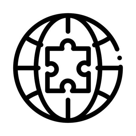 globe puzzle piece icon vector. globe puzzle piece sign. isolated contour symbol illustration