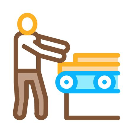 wood material conveyor icon vector. wood material conveyor sign. color symbol illustration