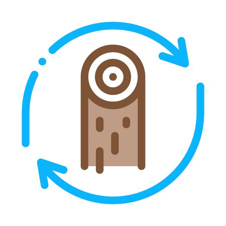 wood material cicle icon vector. wood material cicle sign. color symbol illustration Stock Illustratie