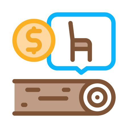 wood furniture factory icon vector. wood furniture factory sign. color symbol illustration