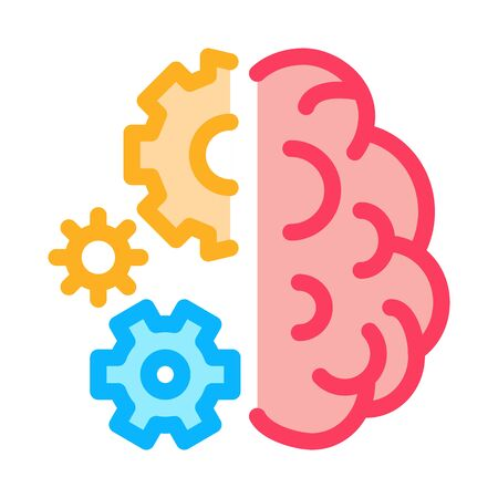 brain work mechanical gears icon vector. brain work mechanical gears sign. color symbol illustration