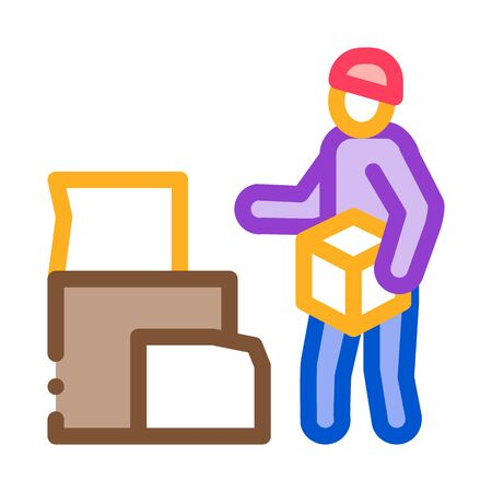 homeless with cardboard boxes icon vector. homeless with cardboard boxes sign. color symbol illustration