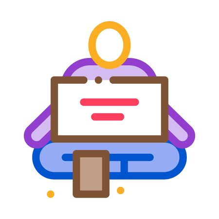 homeless sitting with nameplate help icon vector. homeless sitting with nameplate help sign. color symbol illustration 向量圖像