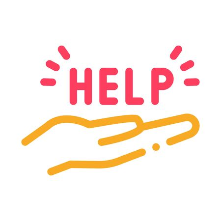 help on palm icon vector. help on palm sign. color symbol illustration 向量圖像