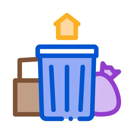 trash can home icon vector. trash can home sign. color symbol illustration
