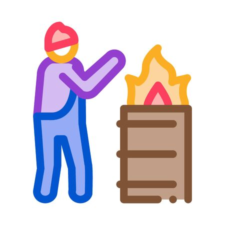 homeless warming flame icon vector. homeless warming flame sign. color symbol illustration 向量圖像