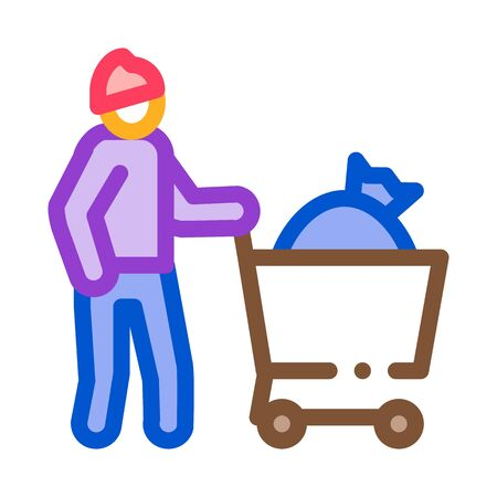 homeless with bag in shop cart icon vector. homeless with bag in shop cart sign. color symbol illustration