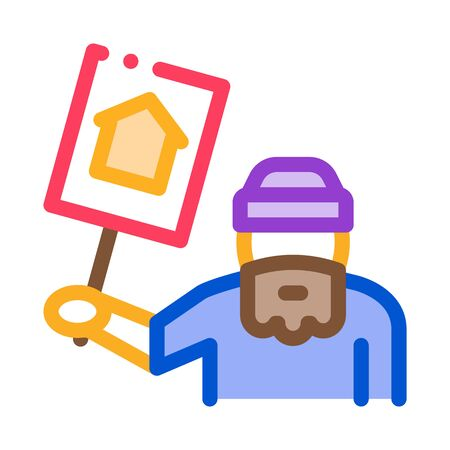 homeless with nameplate house icon vector. homeless with nameplate house sign. color symbol illustration