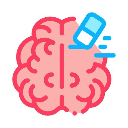 brain mind erase eraser icon vector. brain mind erase eraser sign. color symbol illustration