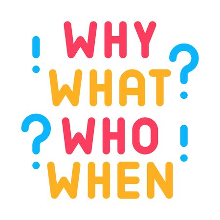 questions why what who when icon vector. questions why what who when sign. color symbol illustration 向量圖像