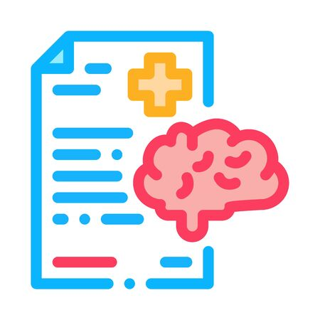 dementia medical report icon vector. dementia medical report sign. color symbol illustration