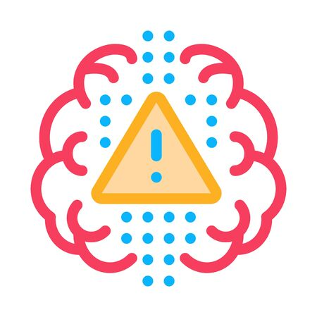 brain exclamation mark icon vector. brain exclamation mark sign. color symbol illustration  イラスト・ベクター素材