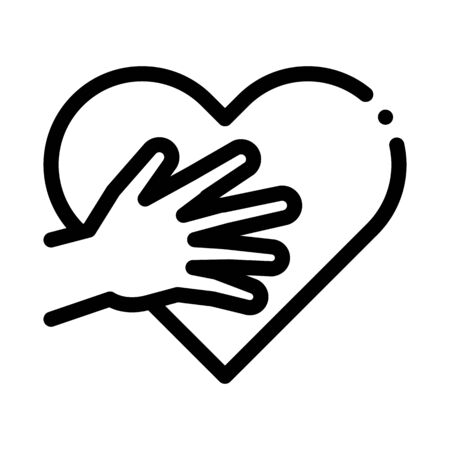 touch heart icon vector. touch heart sign. isolated contour symbol illustration 向量圖像