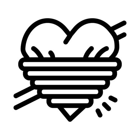 heart squeezed by rope icon vector. heart squeezed by rope sign. isolated contour symbol illustration 向量圖像