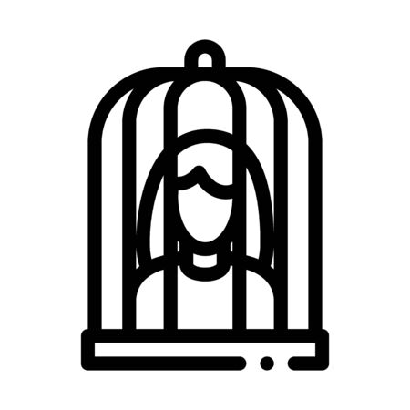 woman in cage icon vector. woman in cage sign. isolated contour symbol illustration 向量圖像