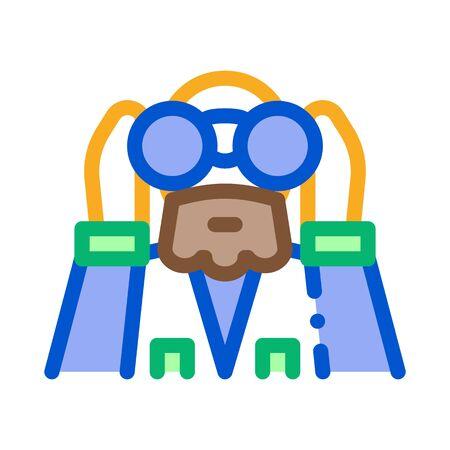 forester looking binoculars icon vector. forester looking binoculars sign. color symbol illustration Stock Illustratie