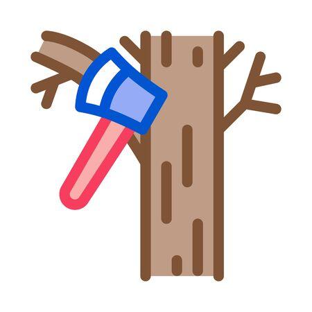 tree ax icon vector. tree ax sign. color symbol illustration Stock Illustratie