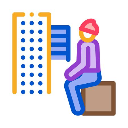 homeless sitting on box in city icon vector. homeless sitting on box in city sign. color symbol illustration 向量圖像