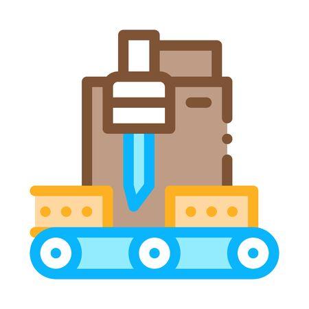 wood plank cutting machine icon vector. wood plank cutting machine sign. color symbol illustration Illusztráció
