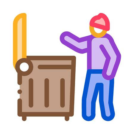 homeless looking food in trash can icon vector. homeless looking food in trash can sign. color symbol illustration