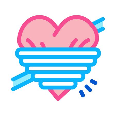 heart squeezed by rope icon vector. heart squeezed by rope sign. color symbol illustration 向量圖像