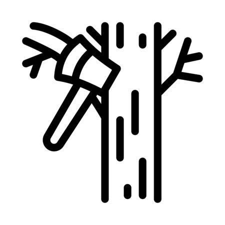 tree ax icon vector. tree ax sign. isolated contour symbol illustration Stock Illustratie