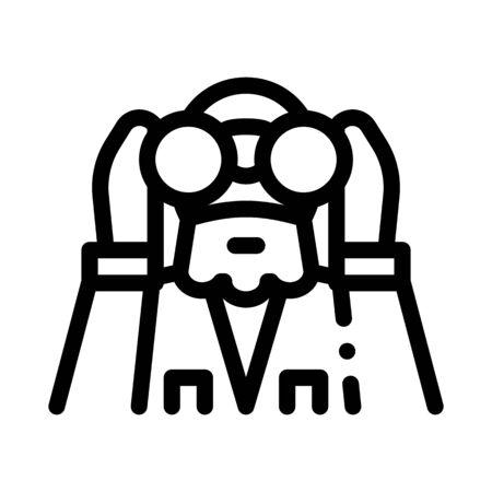 forester looking binoculars icon vector. forester looking binoculars sign. isolated contour symbol illustration