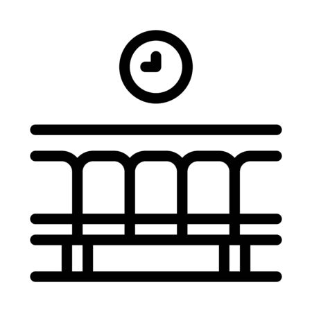 railway station waiting seats icon vector. railway station waiting seats sign. isolated contour symbol illustration