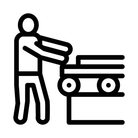 wood material conveyor icon vector. wood material conveyor sign. isolated contour symbol illustration