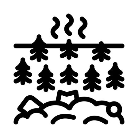 trash in forest icon vector. trash in forest sign. isolated contour symbol illustration