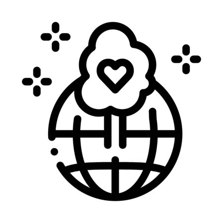 wordwide forestry safe icon vector. wordwide forestry safe sign. isolated contour symbol illustration 向量圖像