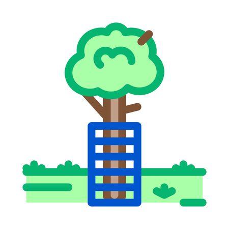tree safe fence icon vector. tree safe fence sign. color symbol illustration