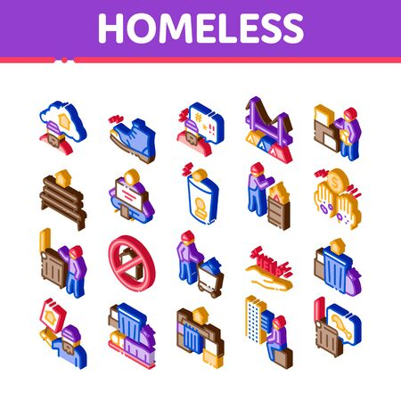 Homeless Beggar People Icons Set Vector. Isometric Homelessness And Shoe, Living On Streets Poor Human, Trash And Abandon Illustrations