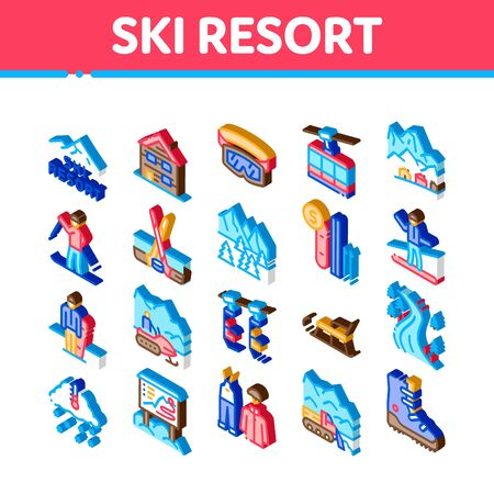 Ski Resort Vacation Icons Set Vector. Isometric Ski Snow Track And Shoe, Protective Glasses And Sled, Chairlift Cableway And Cabin Illustrations